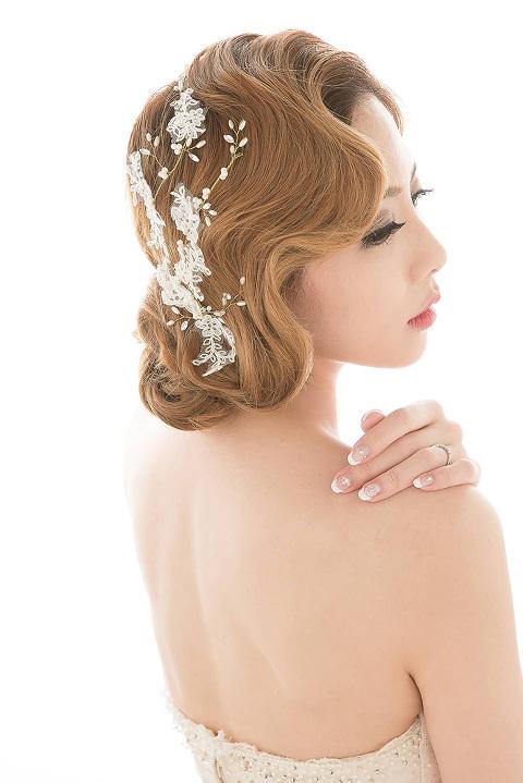 復古新娘-蕾絲新娘造型-指推波紋髮型-中式新娘-巫葳葳新娘秘書-巫葳葳